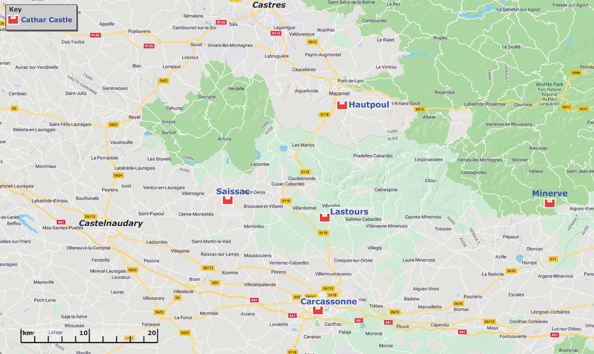 Cathars Region Map North