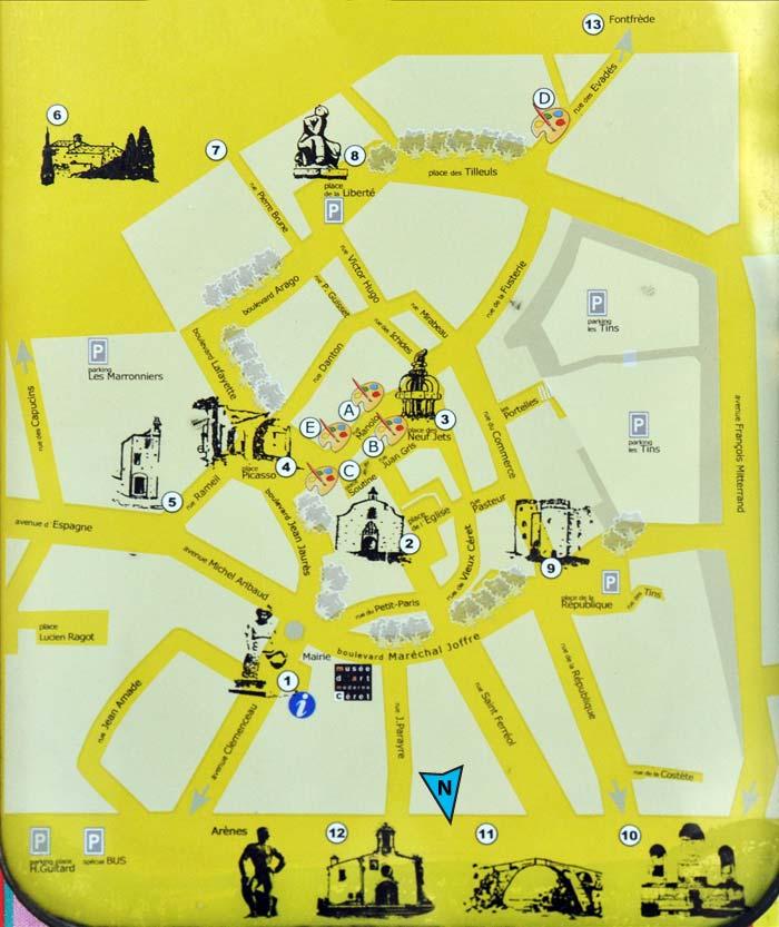 Карта Céret Карта города Сере с отмеченными достопримечательностями:
