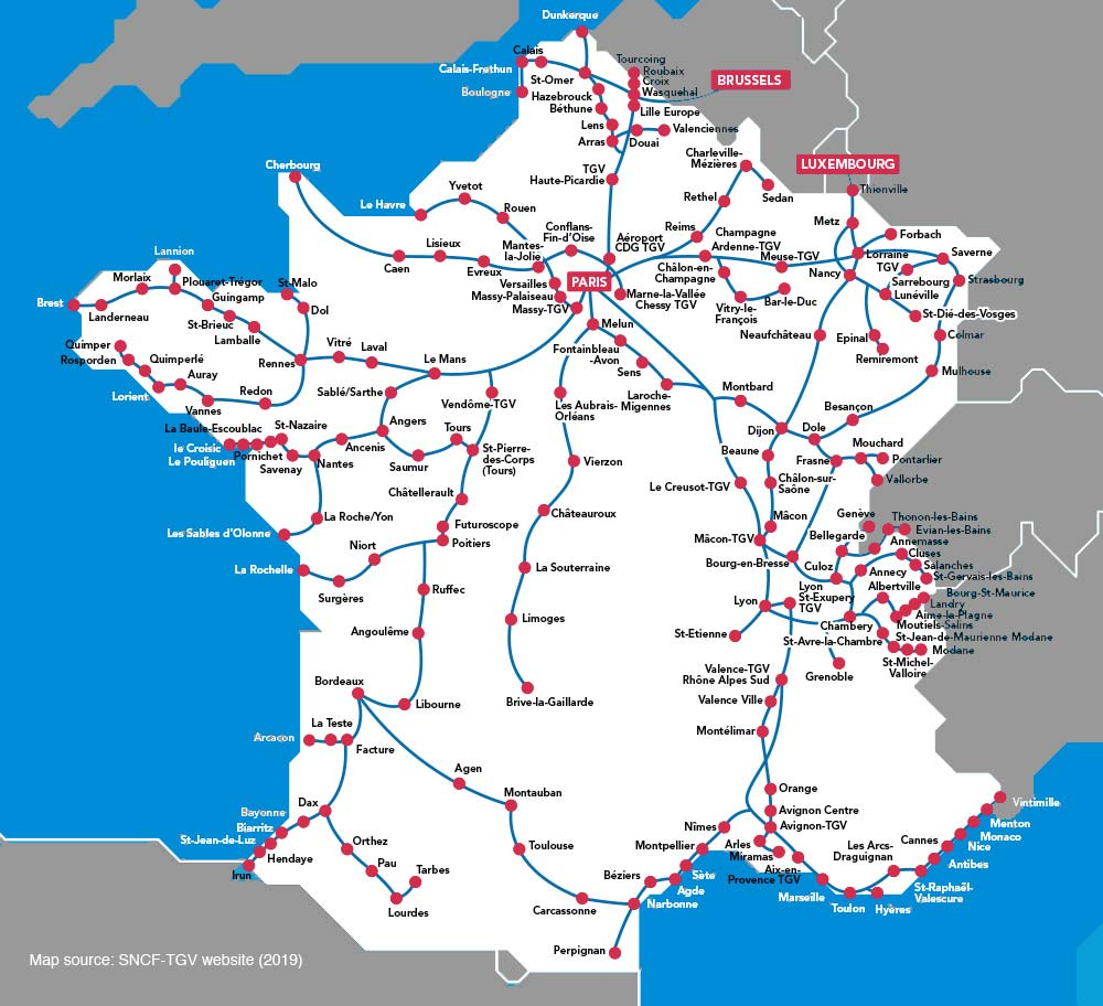 TGV Rail Map by Provence Beyond