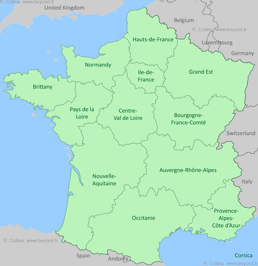 France Regions Map, by Provence Beyond