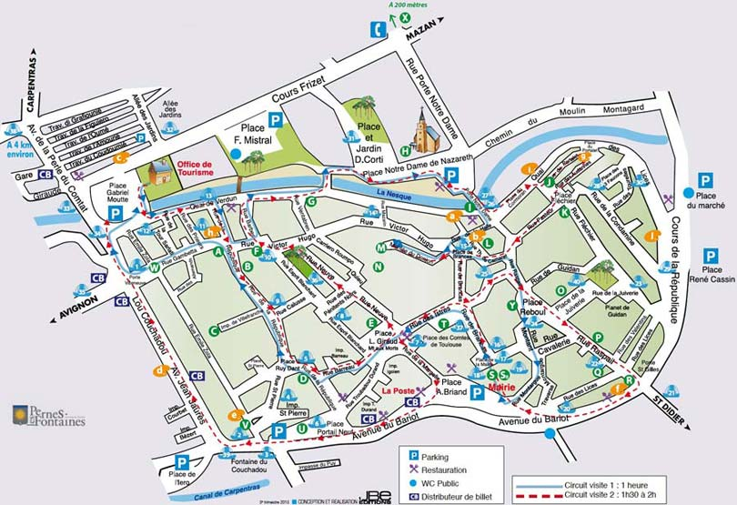 Pernes les fontaines map by provence beyond - Office de tourisme de pernes les fontaines ...