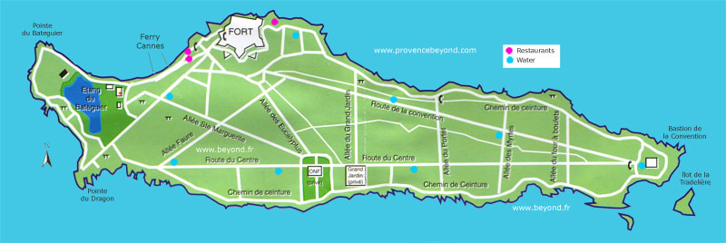 Ste Marguerite Island Map, by Provence Beyond