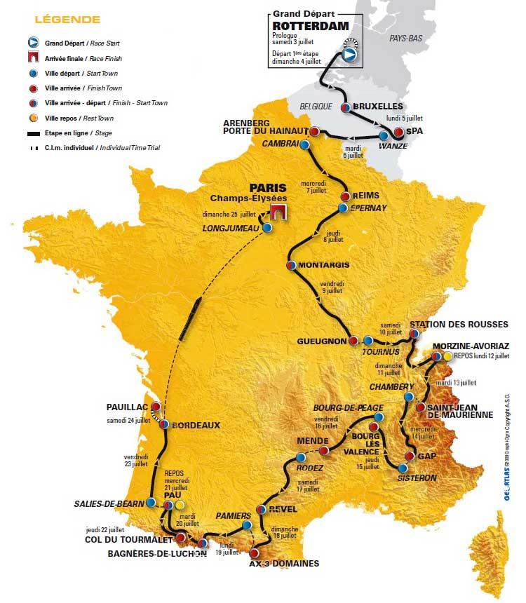 tour de france map 2010. France tour-de-france map 2010