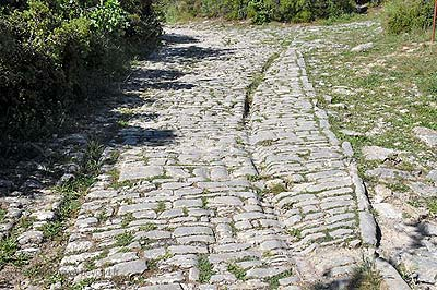 Paved Roman road at the eastern