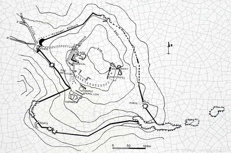 Map of the Gaujac Oppidum hilltop