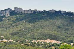 Peyrepertuse Castle on the cliffs above