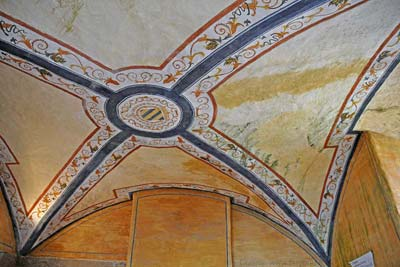 Decorated vaulted ceiling  of a room