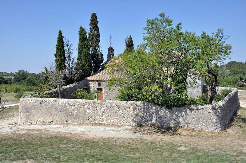 A stone wall and hermitage on