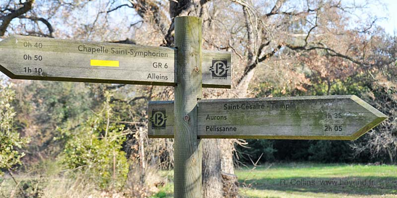 Hiking signposts on the trail passing