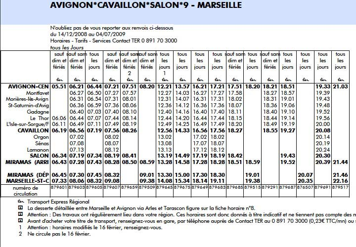 Schedule Avignon, Cavaillon, Salon, Marseille