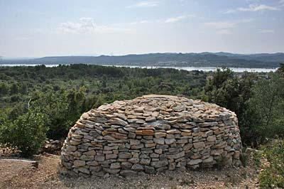 Dry-stone capitelles (bories) overlooking the
