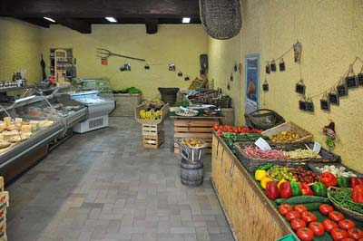 Interior of the produce shop in
