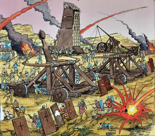 siege engines Siege engines are common in fantasy works and alternate histories also appear in historical fiction often part of a literal storming the castle arc.