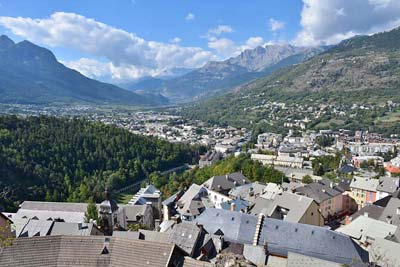 View southwest across Briançon, down the