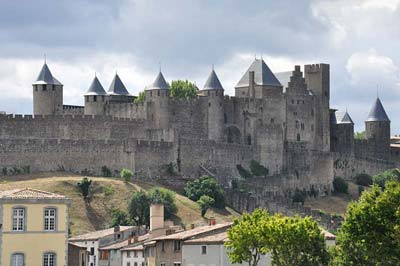 Carcassonne walled city-fortress, viewed from