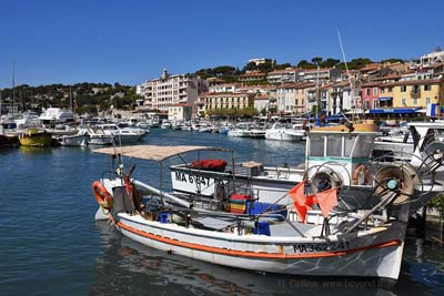 Small fishing boats moored in Cassis
