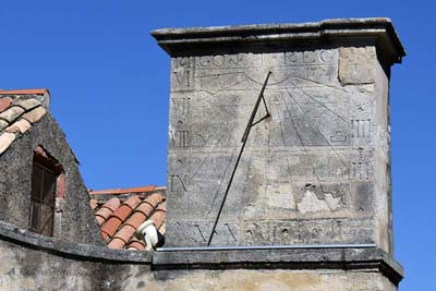 The ancient sundial on the Ste