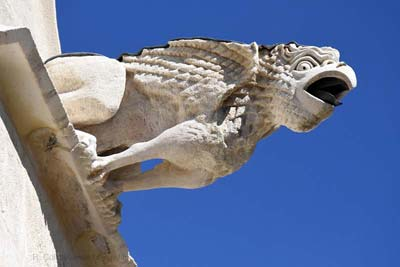 One of the gargoyles guarding the