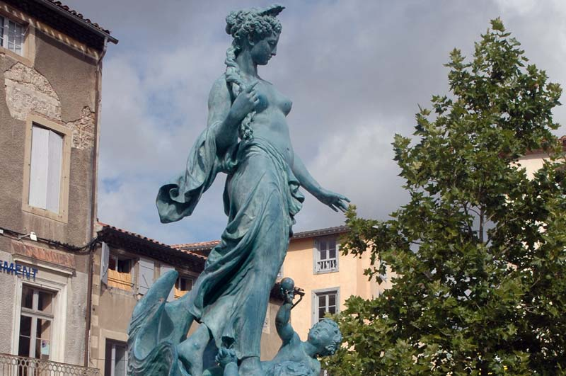 Fountain statue, Limoux Place de la Republique photo
