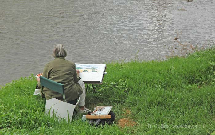 Limoux Painter beside Aude river