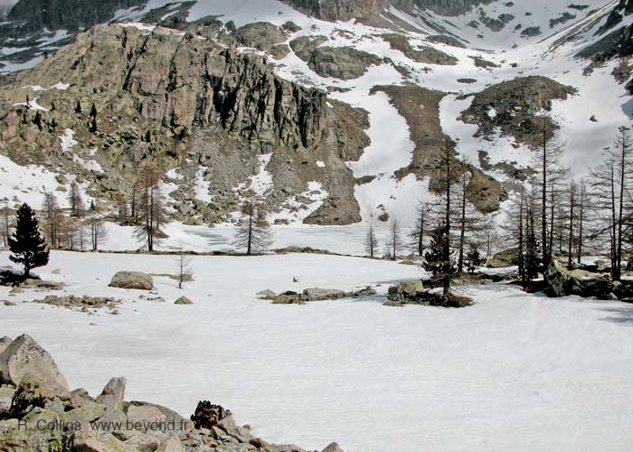 Lac de Tavel, still snow covered in May.