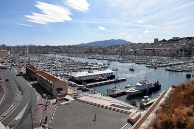Marseille old port viewed from Fort