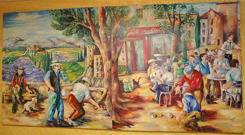 Mural of provencal village life, in