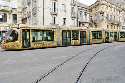 Montpellier artistic brown tram