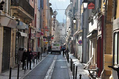The narrow and somewhat scruffy Rue