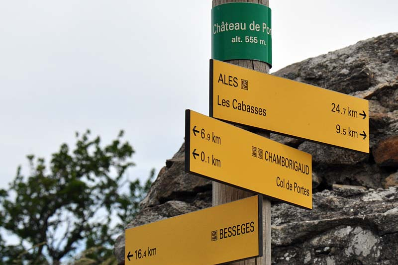 Hiking signpost at the Col de
