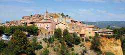 Roussillon perched on ocre cliffs of