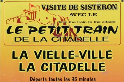 Sisteron Petit Train sign