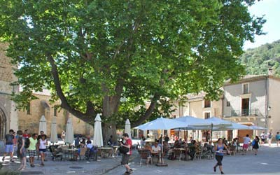 Popular café terraces on Saint Guilhem