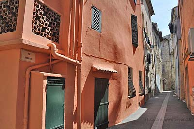 Bright ocre houses on the narrow