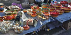 A market pottery stand in Saint