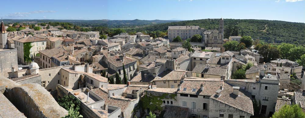 Panoramic view from the King's Tower, Uzes Medieval Garden